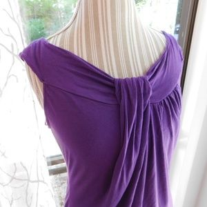 Willi Smith purple sexy drape top, large